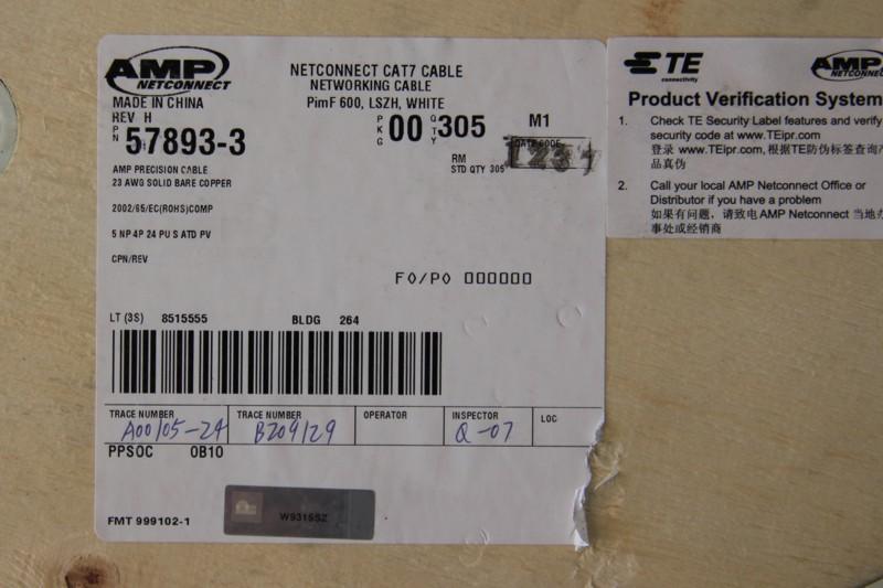 【原装】/AMP安普七类双屏蔽网线/7类网线57893-3/305米