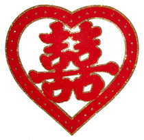 (Wang Yang) large frosted powder red flannel heart-shaped stickers wall stickers