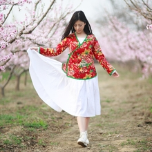 The 99 area at Mianma remember folk style dress improved surplice retro shirt clothing Hanfu tea art