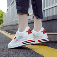 Breathable white shoes female hollow summer 2018 Korean version increased mesh shoes wild new casual shoes
