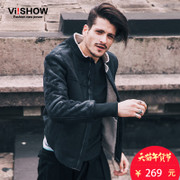 Viishow winter tide brand pilot jacket youth baseball uniform handsome motorcycle leather men and cashmere coat