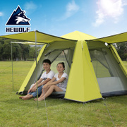The wolf wolf tent is outdoors, 3-4 people are fully automatic, 2 people live in the sun, beach camping, family camping tent set