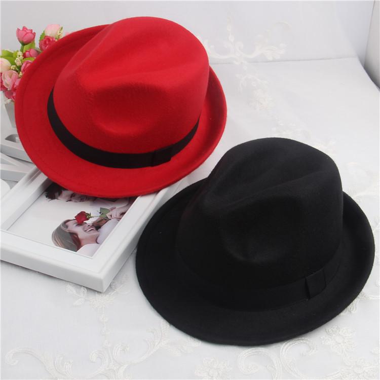 韩版秋冬季儿童毛呢帽子盆帽男女儿童纯黑色礼帽 男童英伦爵士帽