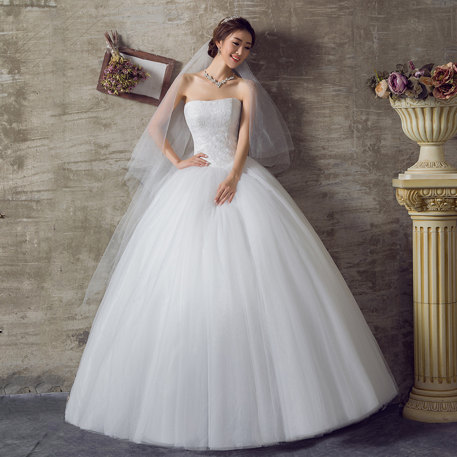 New wedding gowns 2016 Summer Wang Han style bride tiny tube top dress size mm weight slim brief