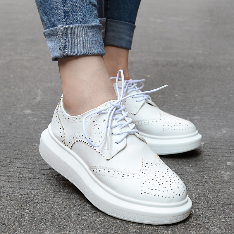 Fall 2015 college girls wind restoring ancient ways white British women's shoes round head flat hollow out motion platform shoes