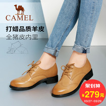 Camel women shoes spring 2017 new casual leather shoes with Brock comfortable and versatile British womens shoes