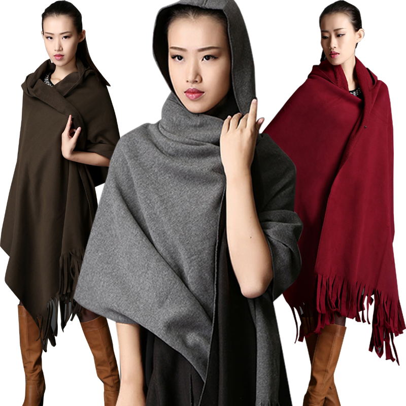 Autumn/winter 2015 new hooded cape coat joker big scarf female thickening coat lengthened in Europe and the cloak tassel