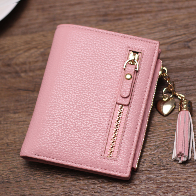 Female short bi-fold zip coin purse wallet-Japanese Korean tassel cute slim clean minimalist wallet