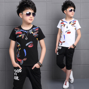 Children with children boys summer suit 2017 New Summer Boys 11 short sleeved 12 tide 13-15 years of age