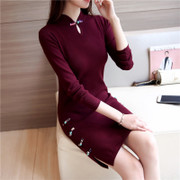 In the long hair thin dress cheongsam retro Pankou dress autumn winter slim down long sleeved knit dress