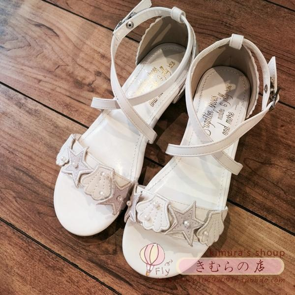 Japanese women's shoes sandals pearl shell side with low with small pure and fresh and lovely and sweet the flat's female student