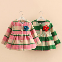 Baby Plaid winter coat 2016 Korean version of the new girls kids childrens wool jacket WT-5566