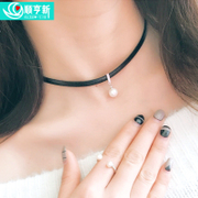925 silver necklace Japan and South Korea melting strength chain joker collarbone chain pearl necklace multi-layer crystal pendant belt