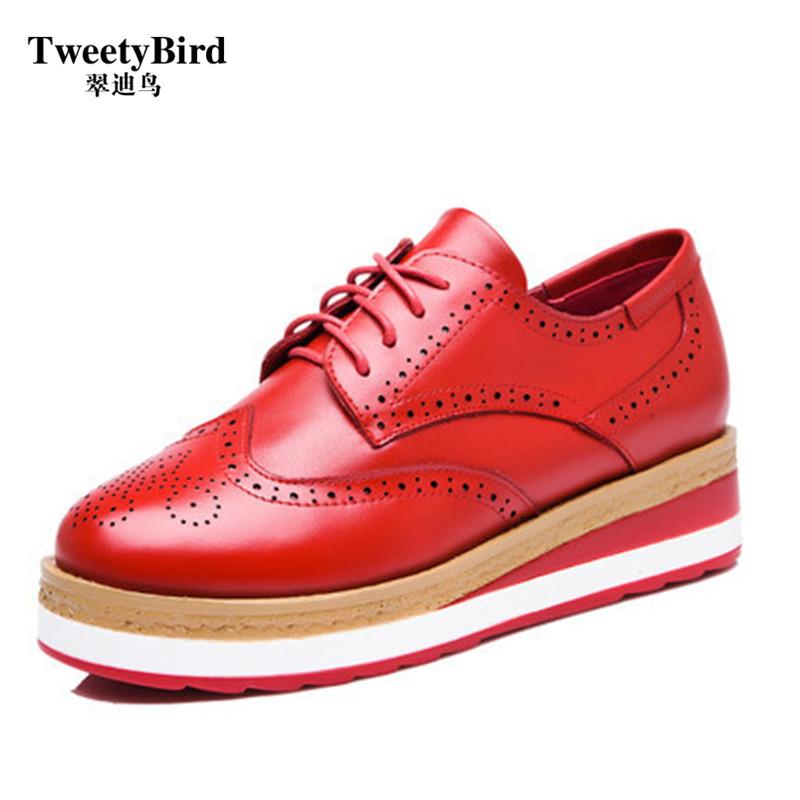 奢侈品牌 Tweetybird 英伦风经典雕花布洛克深口松糕底系带女鞋