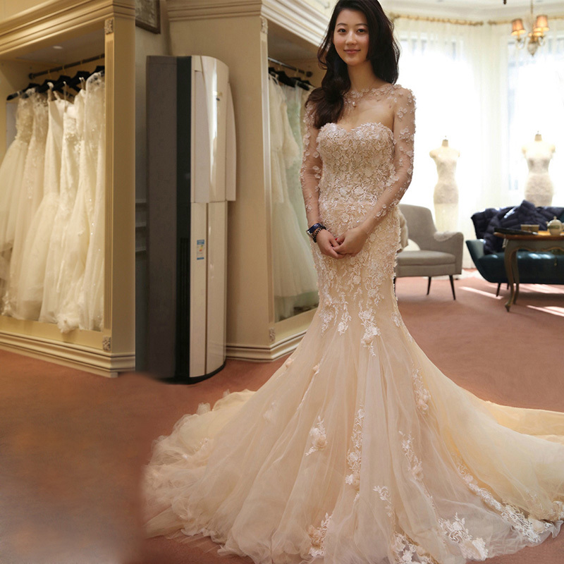 Wedding dresses the bride Korean big yards long trailing 2017 new luxury cultivate one's morality shoulder strapless accept waist tail with a word