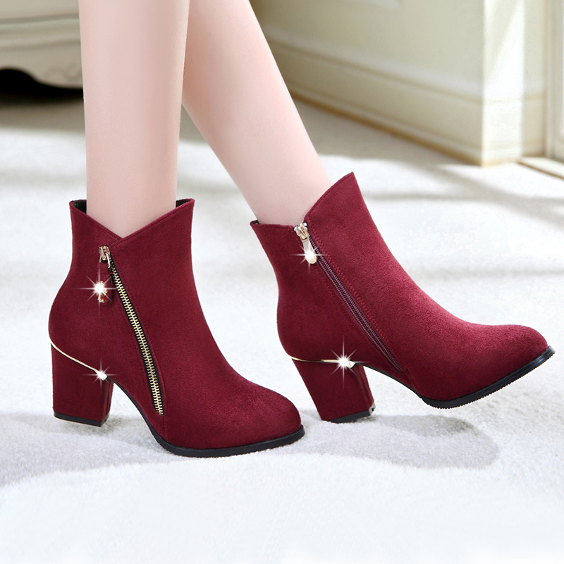 2015 new nude shoes chunky heels short boots for fall/winter in Europe and the Korean version Martin boots, high boots with pointy boots women's shoes