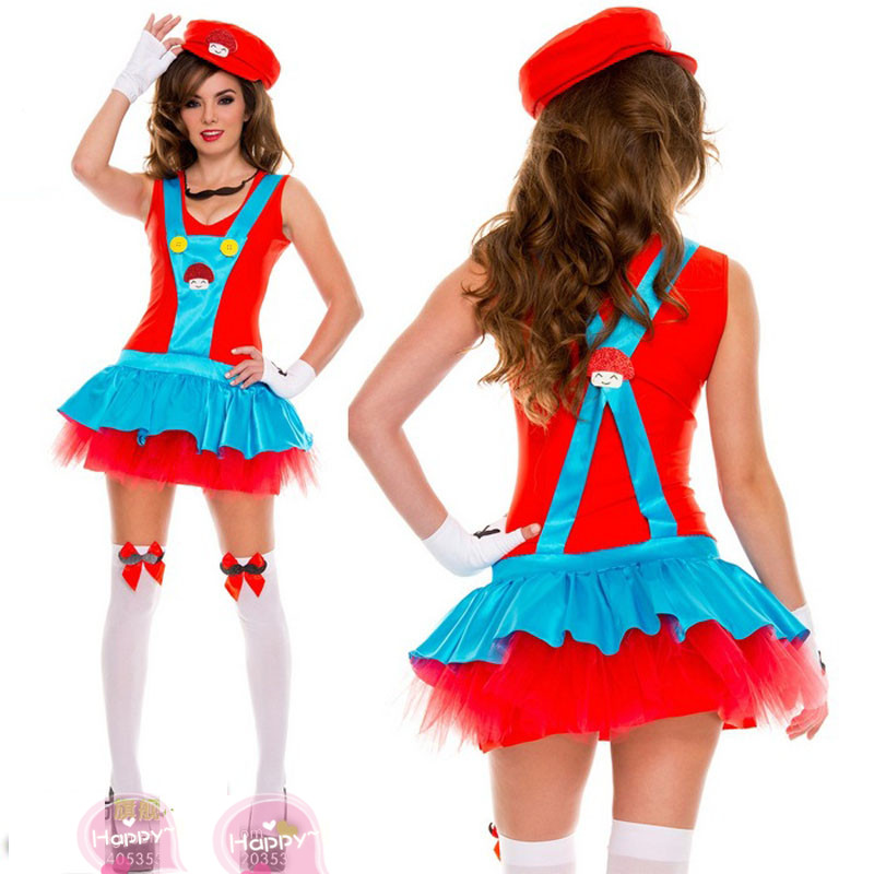 Disney role play super Marie strap dress styling Mario Cosplay anime game uniform