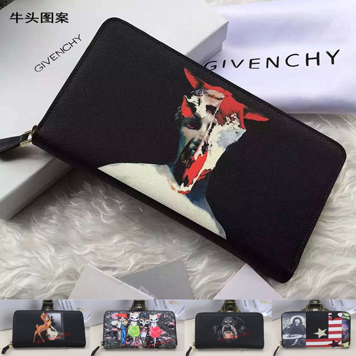 JI Jia handbags handbags for men men's and women's wallet large zip around wallet leather print head holding men and women wallet