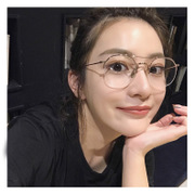 The New South Korean style semi gold rimmed glasses female net red glasses round transparent thin edge of the gold star frame