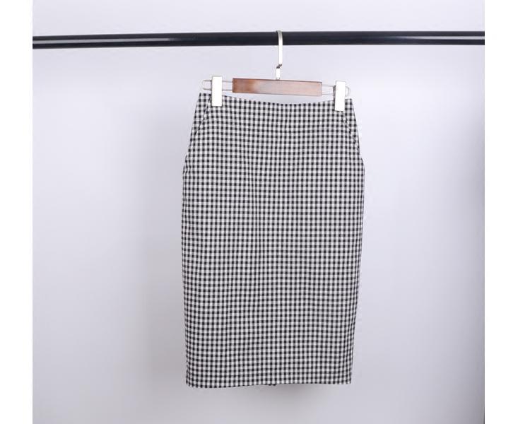 2017夏季新款清新黑白格子棉布半身裙 女式高腰一步裙中裙包臀裙