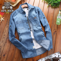 Long sleeve shirt new AFS JEEP tools Spring Autumn pure cotton denim shirt mens casual tops tide