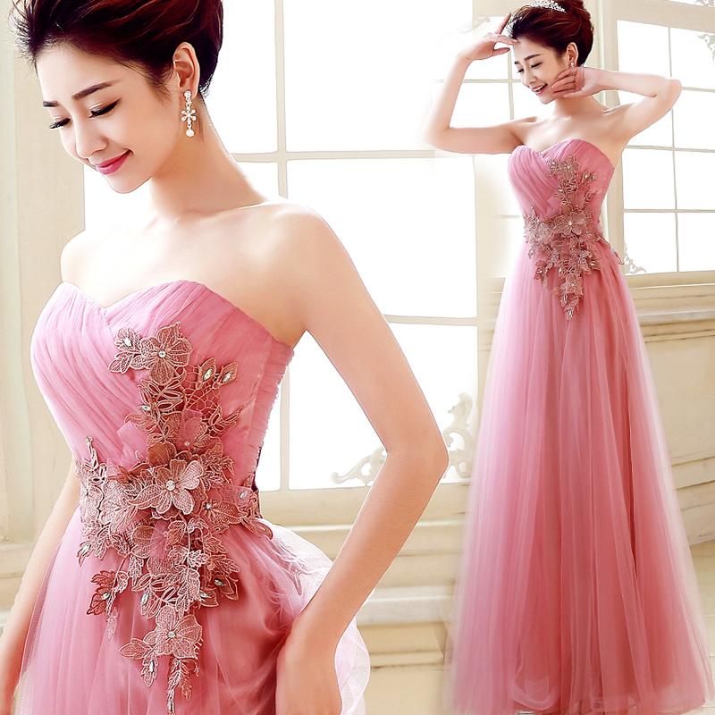 伴娘礼服女2017新款韩版长款名媛礼裙显瘦晚礼服修身结婚衣服新娘