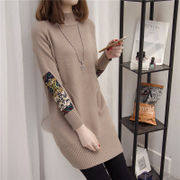 In the long sleeve winter sweater sweater loose Korean female turtleneck sweater dress thick half bottoming sweaters