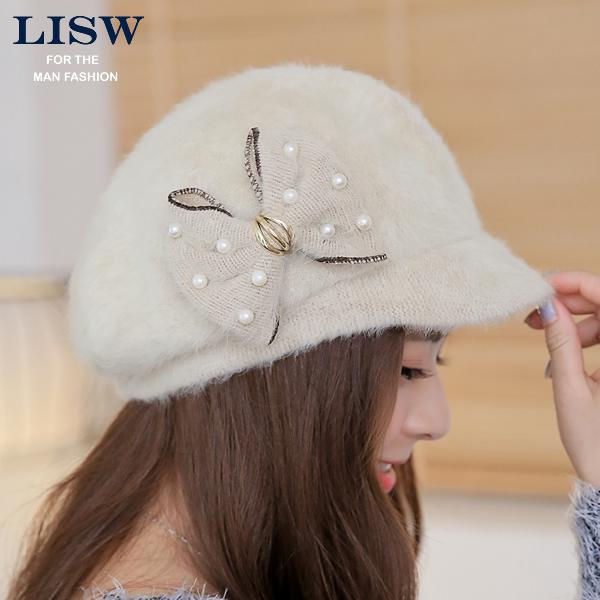 兔毛帽子女冬天韩版秋冬季帽子 可爱蝴蝶结毛线帽 时装帽 韩国潮