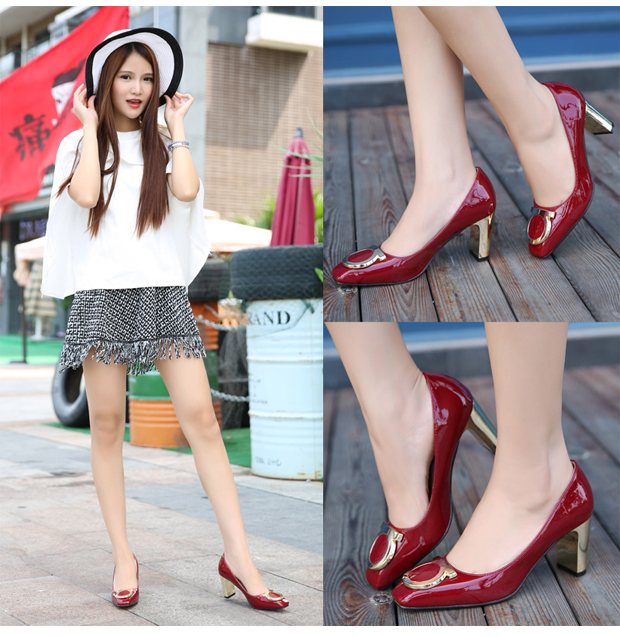 15 new BLK patent leather with side buckle plating with light shoes star in spring and autumn with chunky heels shoes wedding shoes