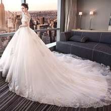 Wedding dress bride 2018 new fantasy Princess long trailing thin shoulder European and American white palace large yards