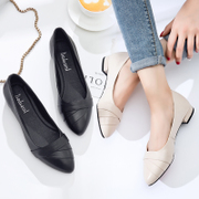 2017, spring, summer, new style, pointed, coarse, with women's shoes, light black leather shoes, women's shoes, low heel leather shoes