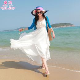 燊杰2018新款波西米亚长裙沙滩裙雪纺海边度假夏季泰国女连衣裙子