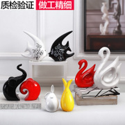 Creative ornaments jewelry cabinet room decor Home Furnishing ceramic crafts wedding gift Swan ornaments