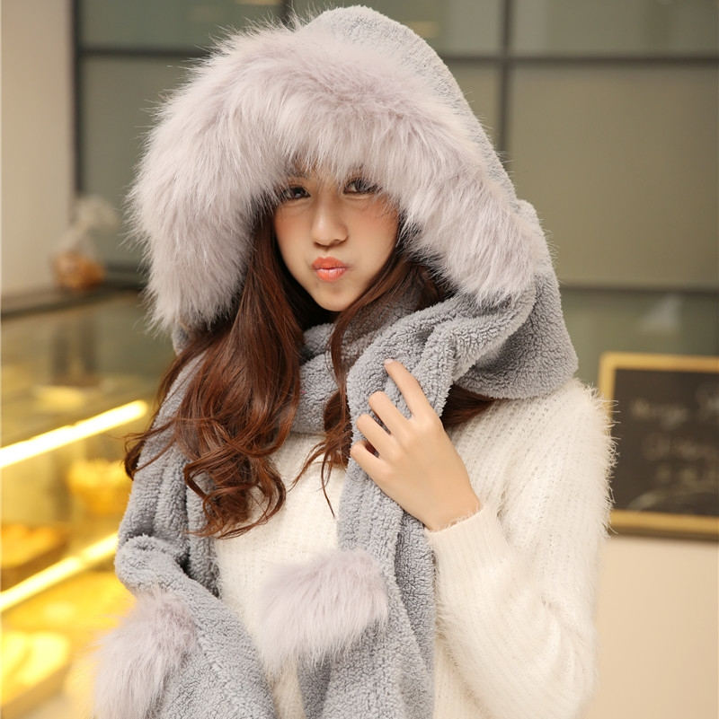 South Korea winter hat, scarf, gloves, three sets of one female plush, thickening, adorable students conjoined cap