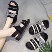 Korean summer sandals all-match flat Rome ulzzang female student shoes with thick soles muffin slip sandals