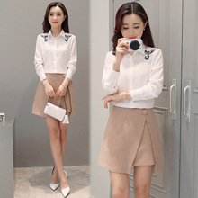 Spring 2017 Korean version of the new shirt embroidered flowers simple loose and long sleeve white shirt woman
