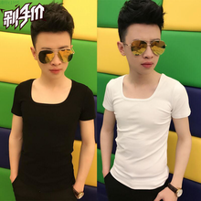 2 wolf Wu Jing with low color T-shirt collar shirt collar short sleeved tight Korean party spirit.