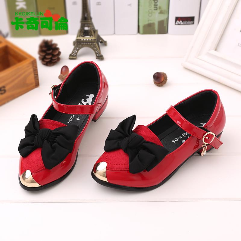 卡奇可伦童鞋女童黑色皮鞋2016春秋季韩版学生单鞋中大童公主高跟