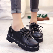 2016 new winter shoes shoes casual shoes flat shoes retro British style students all-match Han Banchao