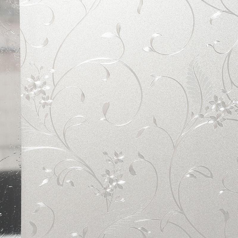 藤花静电免胶磨砂玻璃贴膜卫生间浴室窗户贴纸透光不透明防晒窗贴