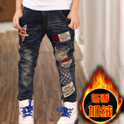 The boy jeans and trousers in winter a thick Velvet Pants boy kids children winter leisure pants