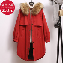 2016 new winter coat women hooded fur collar coat womens coat warm loose tooling knee Korean jacket