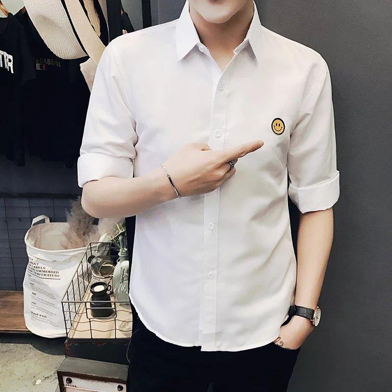 7七分袖衬衫男士中袖韩版潮流修身帅气衣服短袖个性学生夏天青年