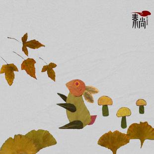 幼儿园手工画 精品树叶标本贴画 树叶画diy 小兔子树叶粘贴画图片