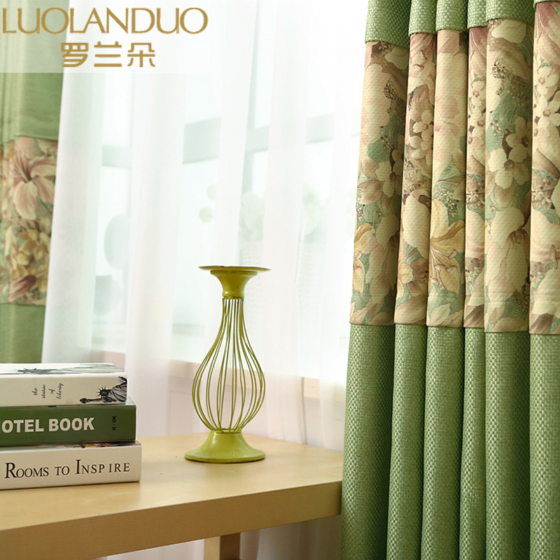 定制纯色棉麻拼接窗帘成品隔热遮阳窗帘布客厅卧室飘窗全遮光加厚