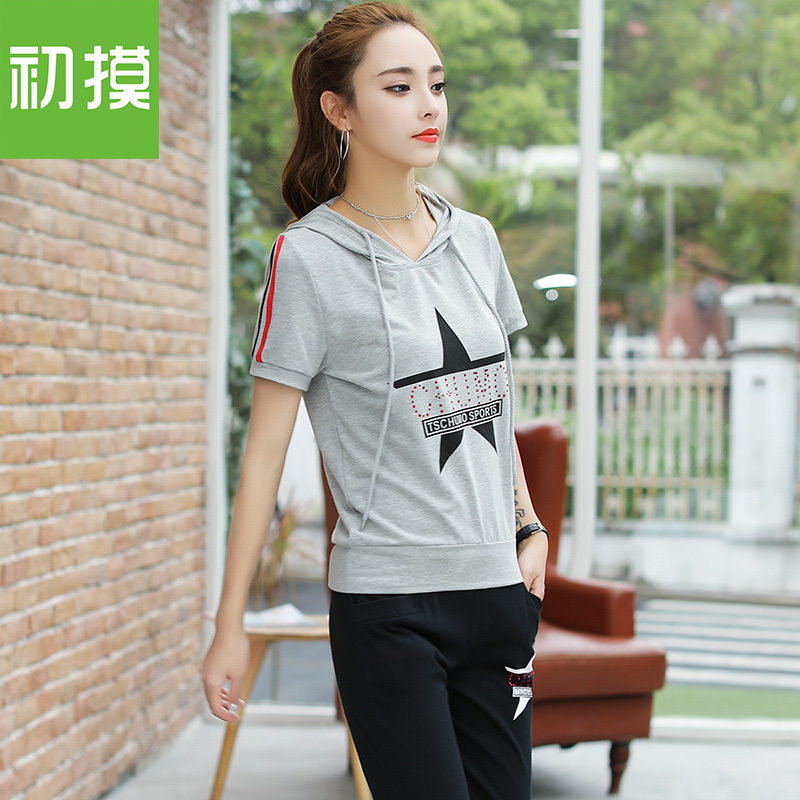 The new women's casual wear short sleeved pants seven two piece suit all-match fashion T-shirt