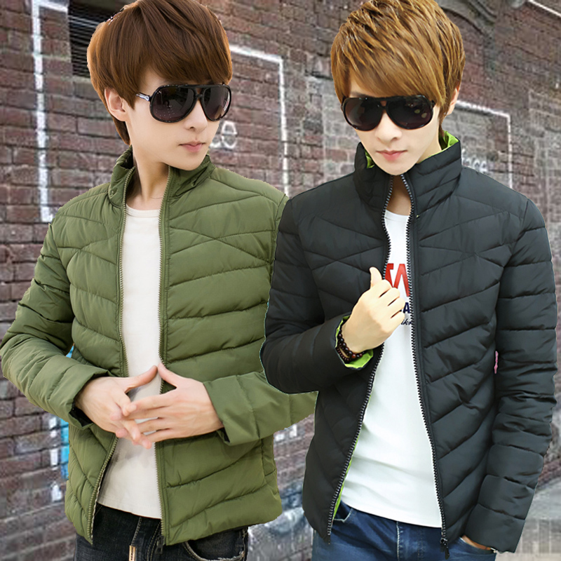 Cultivate one's morality in winter cotton-padded clothes more male young frivolous brief paragraph han edition men coat coat collar down jacket male tide