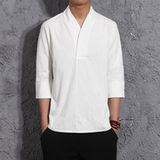 Chinese Chinese men's shirt cotton linen costume style short sleeved Summer Youth ethnic Han leisure garment