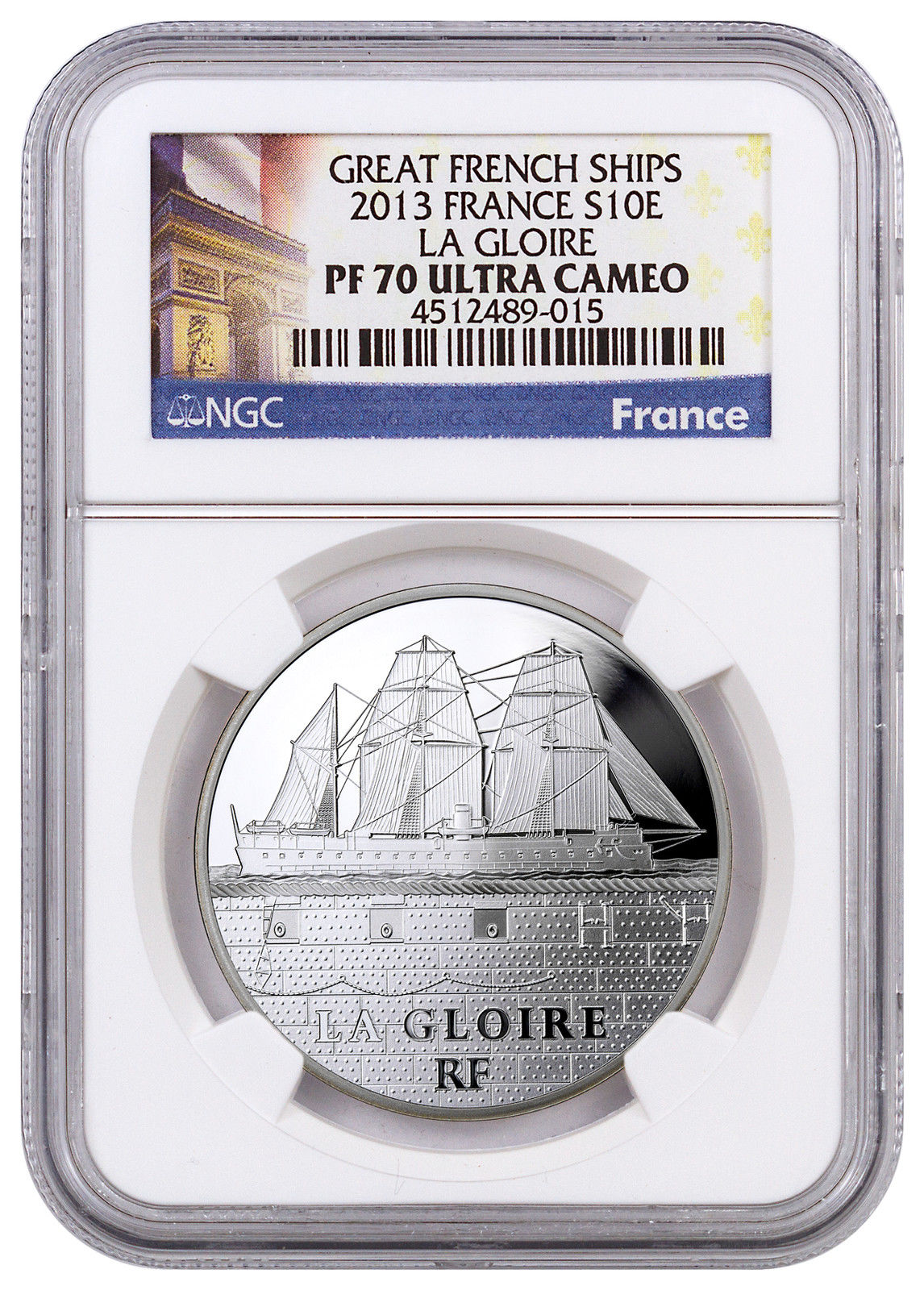 Haining tide in France in 2013 the great ship ship Nagelu series of commemorative coins NGC-PF70