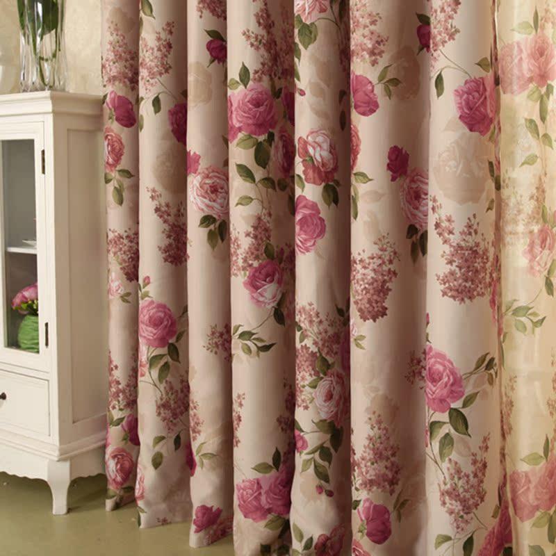 越帛新款欧式田园高档印花遮光大花窗帘 *玫瑰花园* 客厅